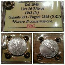 Repubblica italiana 10 lire 1948 FDC periziata