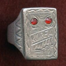 Very Cool 1946 US Korean Occupation Coin Silver Ring with Red Stones Owl Design