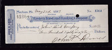 Eastern Trust & Banking Company Used Bank Check 1897 Bangor Maine