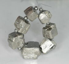 10X9-14X12MM  IRON PYRITE GEMSTONE GRADUATED RUGGED NUGGET CUBE LOOSE BEADS 4""