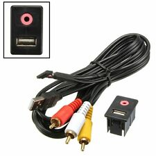 1.5m Car Dash Flush Mount 3.5mm AUX & USB MALE 3 RCA Extension Cable Lead Socket