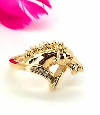 14k yg Horse Head Diamond Ring