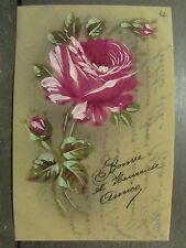 cpa fantaisie celluloid fleur rose