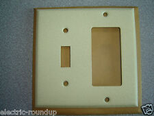Mulberry 99432 2 Gang 1 Block Receptacle 1 Toggle Ivory Wrinkle Steel Wall Plate