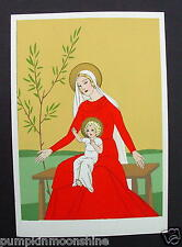 #H272- Vintage Unused Giovanni Meschini Xmas Greeting Post Card Madonna in RED
