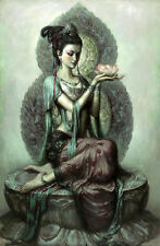 Stunning Oil painting Avalokitesvara Guanyin holding a lotus flowers canvas 36""