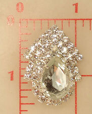 Vintage Czech metal 2 loop sew-on decoration many rhinestones & clear pear 35mm