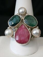 Flame Fusion Sapphires and Pearl Sterling Silver Artisan Ring Make Offer! #1128
