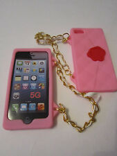 Pink Cliche Purse Hand Bag Case & Strap iPhone 5 5s Patterned Silicone Full Back