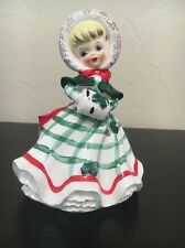 Lefton CHRISTMAS LADY w/ Muff Full Body  Vase Planter Vintage Orig. Foil Sticker