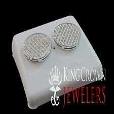 GENUINE DIAMOND MENS LADIES CIRCLE DESIGNER 14K WHITE GOLD FINISH STUD EARRINGS