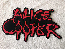 LARGE SEW / IRON ON ROCK MUSIC BACK PATCH:- ALICE COOPER (a) BLOOD LETTERS