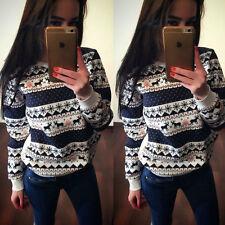 Womens Christmas Winter Hoodie Sweatshirt Jumper Sweater Hooded Pullover Tops