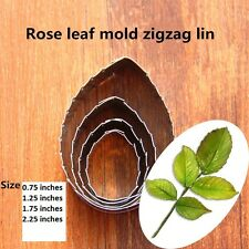 Rose Flower Leaf 4 piece Stainless Steel Cookie, Pastry Fondant Leaf Cutter Set