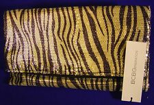 BCBGeneration Bling Sequins folding clutch,metalic gold zebra stripes NWT $22.95