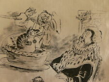 """""""Sing a Song of Sixpence"""" 19thC Fine Pair of Illustrations on Silk Handkerchiefs"""