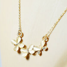 fashion Women Lady Cat's Eye Stone Butterfly Crystal Pendant necklace Gift