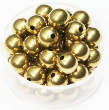 8 MM Solid Brass Round Seamless Hollow Beads Hole 1.8 MM Pkg.100  Natural, USA