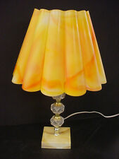 vTg Orange Plastic Table Lamp Ruffle Shade Retro Hippie MOD Eames Lucite Light