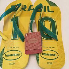 NWT HAVAIANAS Brazil Mens Soccer Flip Flops Sandals Size 13M US Eur 47/48