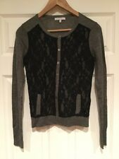 Mystree Gray Cardigan With Black Lace Panels and Pockets, Size Small