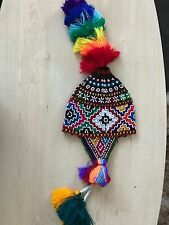 PERUVIAN CHULLO HAT WITH BEADS MULTICOLOURED RAVE FESTIVAL  HAND MADE ^16