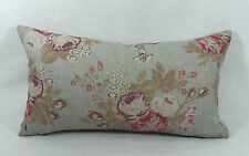 """Cabbages and Roses Tulips & Roses Multi Coloured Linen Cushion Cover 22""""x10.5"""""""