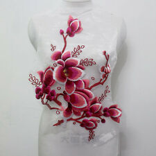 1 Pcs Exquisite Flower Embroidery Tulle Lace Applique/Patch Motif Sew On~Red