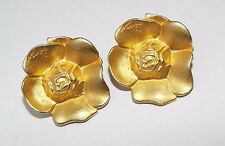 Vintage signed KENZO goldtone Flower Clip on EARRINGS costume jewelry runway