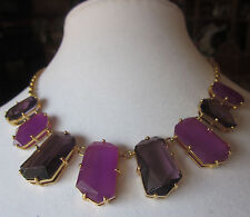 KATE SPADE NEW YORK RARE STATEMENT SET IN STONE NECKLACE AMETHYST PURPLE COLLAR