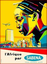 Africa African L' Afrique par Sabena Vintage Travel Advertisement Art Poster