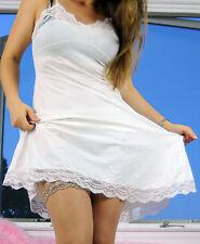 VTG Vanity Fair White Fancy Scalloped Lace Smooth Nylon Full Slip Dress sz 34