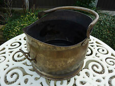 Old Antique Traditional Brass Helmet Coal Log Scuttle With Handle Dovetail Joint