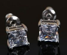 PRINCESS CUT DIAMOND STUD EARRINGS MAN MADE 3 CARAT SOLID PLATINUM