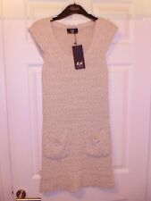 New & Tagged AX Paris Knitted Long Top / Dress – Stone Colour – M/L
