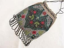 ANTIQUE EDWARDIAN GLASS BEADWORK & CROCHET PURSE RETICULE  c1910