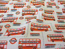 White & Red London Buses/Bustop British Printed Polycotton Fabric