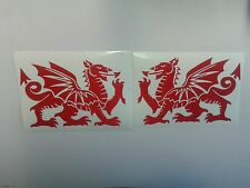 2 x large Welsh red dragon car bumper stickers decals Wales