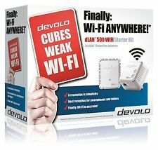 DEVOLO 9085 POWERLINE DLAN 500 WIFI STARTER KIT COMPLETE WITH 2 ADAPTERS/PLUGS