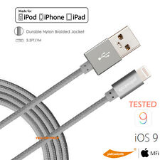 YELLOWKNIFE 2A Metal Braided MFI Lightning USB Cable Charger Sync Cord for Apple