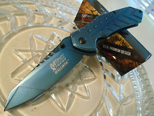Mtech Xtreme Ballistic Assisted Blue Titanium HD Pocket Knife 440C MX-A837BL New