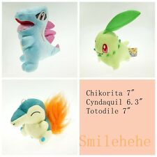 "Lot Of Chikorita Cyndaquil Totodile Plush Toys 7"" Pokemon Starter Doll New"