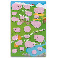 CUTE PIG FELT STICKERS Sheet Farm Animal Raised Fuzzy Craft Scrapbook Sticker