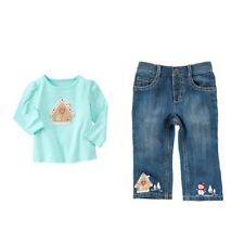 Gymboree NWT Cozy Cutie 2t baby girl aqua shirt jeans ginger house snowman SET