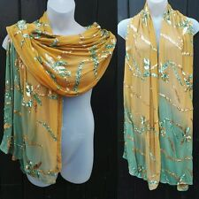 Large Exotic Green Ochre Vintage Indian Sari Chiffon Sequinned Shawl Wrap Scarf