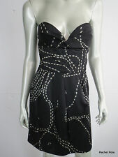 $538 ISSA LONDON 6 S Silk Black Strapless Sexy Cocktail Dress Ant Print EUC