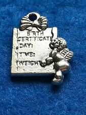 10 X Tibetan Silver 'birth Certificate' Baby, Born,Charms, pendants, 19x14mm