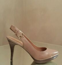 NEW Nine West Parnham Taupe Leather Platform Slingback Almond Toe Pumps 9M