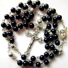 Black Carnelian Agate & Silver Rose BEADS CATHOLIC ROSARY & ITALY CROSS necklace