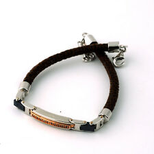 Arcadia men bracelet brown leather rose gold plated bronze zircons MADE IN ITALY